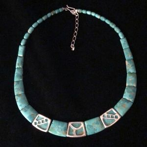 Jay King Turquoise & Decorative Silver Necklace